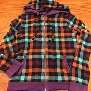 Hurley Reversible Sweatshirt Hoodie Purple Plaid